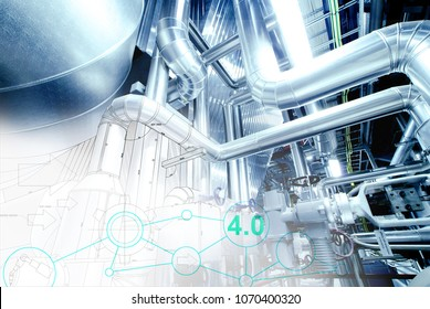 Industry network concept image. industrial piping in the factory with networking icons, smart factory solution