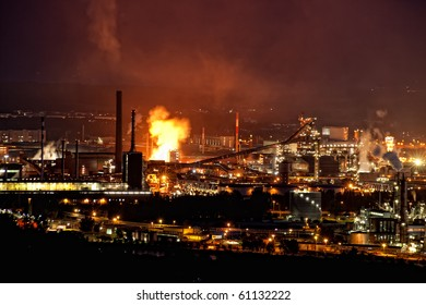 Industry at Night with infernal Fire