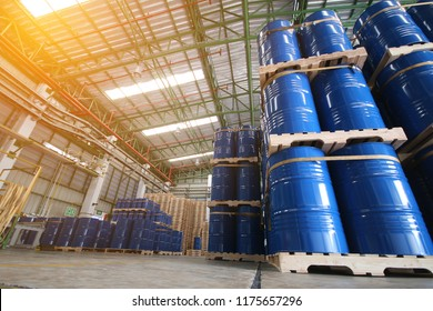 Industry oil barrels or chemical drums in Ware house