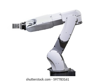 Industry robotic arm isolated on white background with clipping path