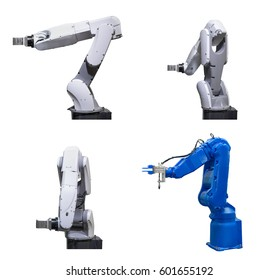Industry robotic arm set isolated on white background