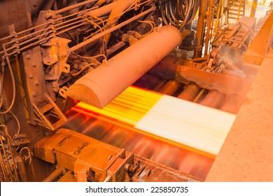 Industry steel, Hot slab are rolling in mill, Milling hot slab.