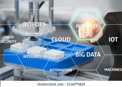 Industry with technology 4.0 concept. Businessman touching industry 4.0 in virtual interface screen as concept of smart factory. Businessman standing over robotic arm in a factory.