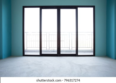 Industry under construction Building home empty Room interior window and door black aluminum on wall