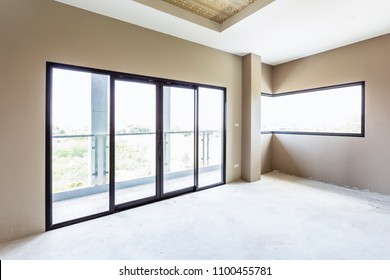 Industry under construction building wallpaper empty room interior window and door black aluminum on wall