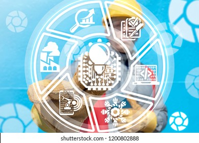 Industry worker clicks a micro chip with light bulb button on a virtual panel. Smart Machine Learning Industrial Circuit AI Technology.
