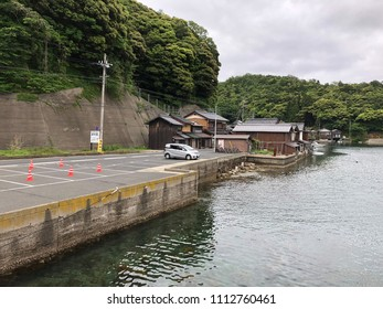 Inemachi, Yosa, Kyoto, Japan - May 20, 2018 : Ine no Funaya, Building which made the first floor facing the ocean to the storage place of the fishing boat and the second floor to the living room