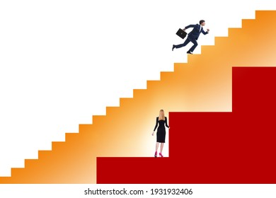 Inequality concept with businessman and businesswoman