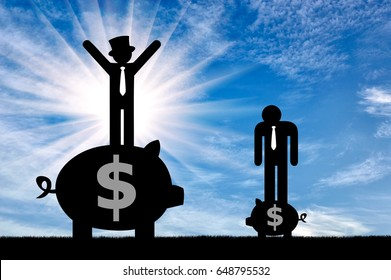 Inequality concept. Poor and rich flat icons people standing on piggy banks