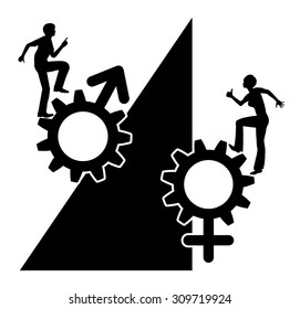 Inequality. Concept sign for unequal job opportunities for men and women