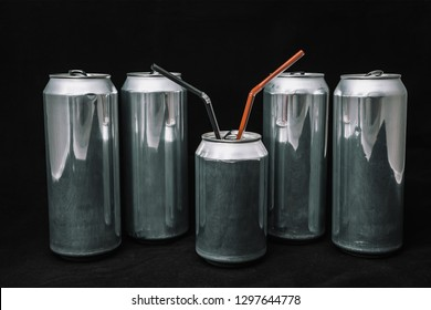 Inequality and injustice. Big aluminium cans around small can. Boss on rest servants around/ Concept