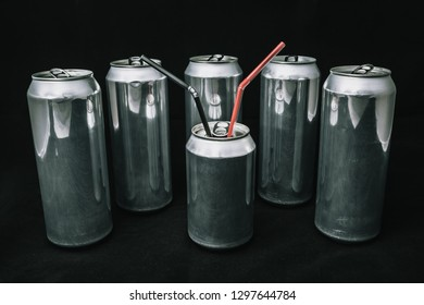 Inequality and injustice. Big aluminium cans around small can. Boss with bodyguards concept. Main man on rest. equality of people