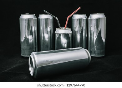 Inequality and injustice. Big aluminium cans around small can. Boss on rest servants around
