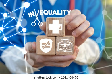 Inequality Society Medical Insurance Concept. Health Care Discrimination Unequal.