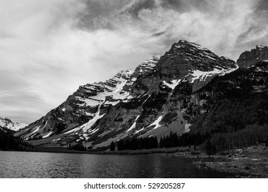 Infamous Maroon Bells of Aspen Colorado USA a black and white monochrome wilderness adventure into Landscape Fine Arts Photography in the Rocky Mountains