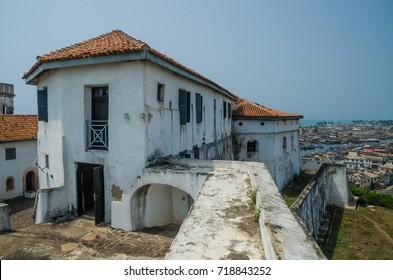 Infamous medieval defence structure Fort Coenraadsburg overlooking Elmina Castle, Gold Coast, Elmina, Ghana