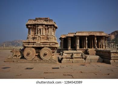 """Infamous Stone Chariot and Wedding hall of Vitthala temple, Hampi, Karnataka, India"""
