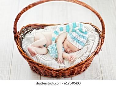 Infant baby boy, sleeping newborn baby under 1 months