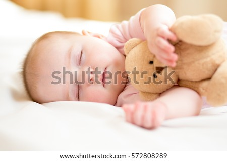 45d497a12 Infant Baby Girl Sleeping Plush Toy Stock Photo (Edit Now) 572808289 ...