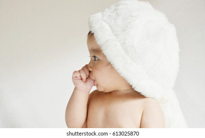 Infant baby Sucking fingers