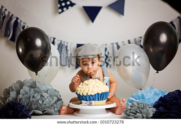Surprising Infant Boys First Birthday Cake Smash Stock Photo Edit Now Personalised Birthday Cards Beptaeletsinfo