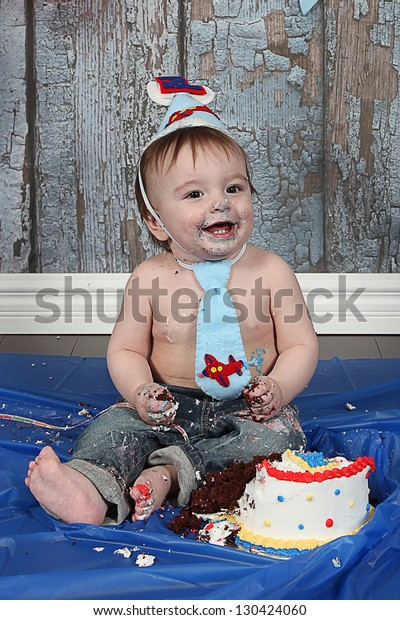 Fine Infant Boys First Birthday Cake Smash Stock Photo Edit Now 130424060 Personalised Birthday Cards Bromeletsinfo