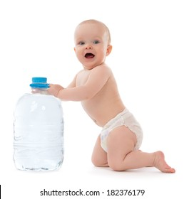 Infant child baby girl sitting with big bottle of drinking water in diaper and give five open hand sign smiling on white background