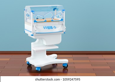 Infant incubator in room on the wooden floor, 3D rendering