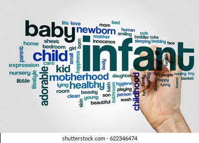 Infant word cloud concept on grey background