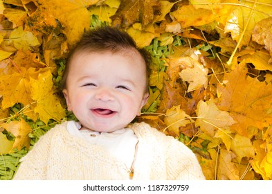 Infant in Yellow Autumn Leaves