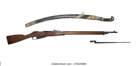 Infantry rifle and saber model 1891 - is isolated onthe white