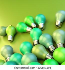 Infinite bulbs background, 3d rendering