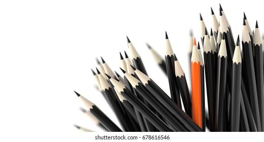 Infinite pencils background, education and creativity theme, original 3d rendering