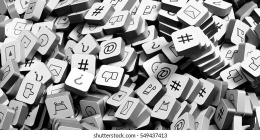 Infinite social media infinite icons 3d rendering background