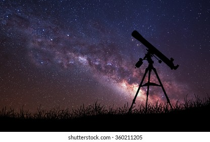 Infinite space background with silhouette of telescope. This image elements furnished by NASA.