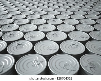 Infinite Stockpile of 3D Rendered Tin Cans Fading Into The Background