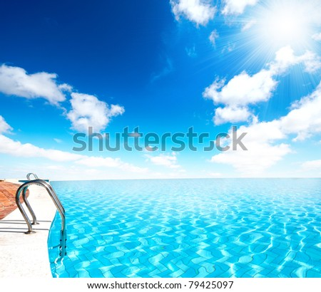 Infinite Swimming Pool Sun Ray Stock Photo (Edit Now) 79425097 ...