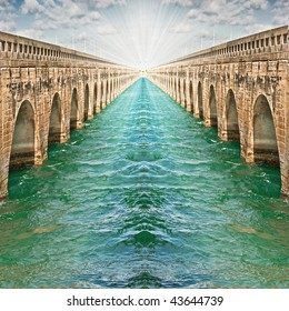 Infinity bridges and emerald green waters show the path to the light, concept of optimism, direction, success and bright future. Copyspace for your text.