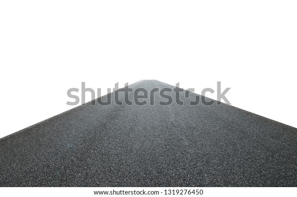 Infinity center straight perspective asphalt road isolated on white background with clipping path.