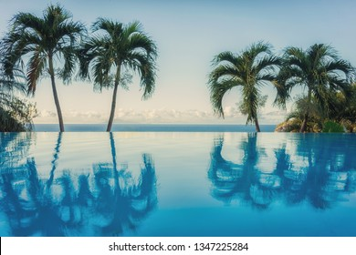 Infinity pool in Caribbean with palm trees reflection. Sunset time