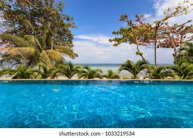 Infinity pool overlooking the beach in Phi Phi Don Island in Krabi, Thailand