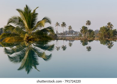 Infinity pool reflection, South Goa in India