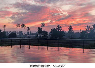 Infinity pool sunset, South Goa in India