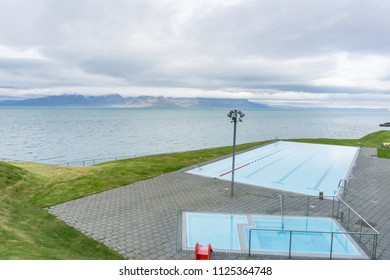 Infinity Swimming Pool overlooking Fjords Mountains Hofsos Iceland