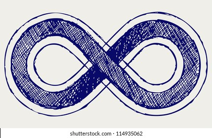 Infinity symbol. Doodle style. Raster version