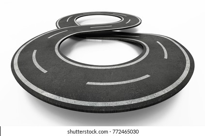 Infinity symbol shaped road isolated on white background. 3D illustration.