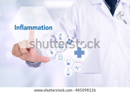 Inflammation Medicine doctor working with computer interface as medical