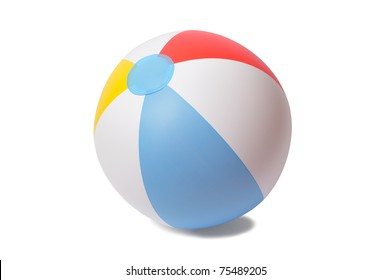 Inflatable beach ball isolated on white