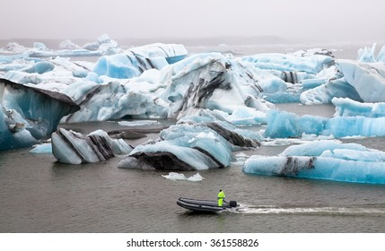 Inflatable boat in the Jokulsarlon Glacier Lagoon, Southern Iceland