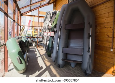 Inflatable boats in the fishing store
